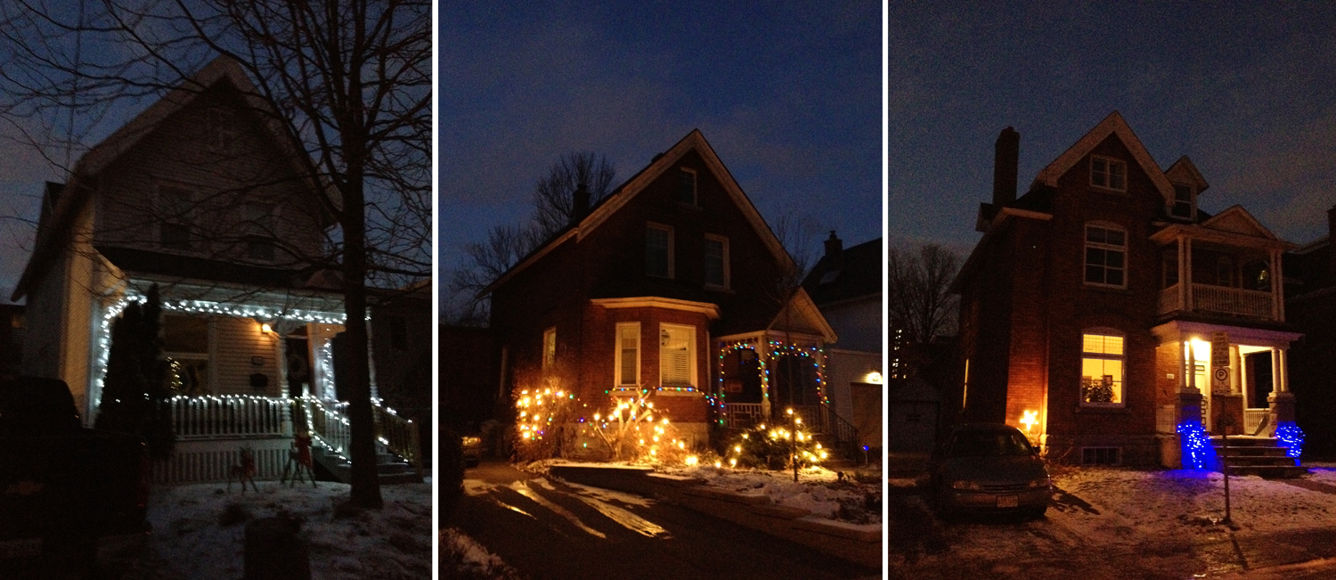 Some lit up houses in the Glebe