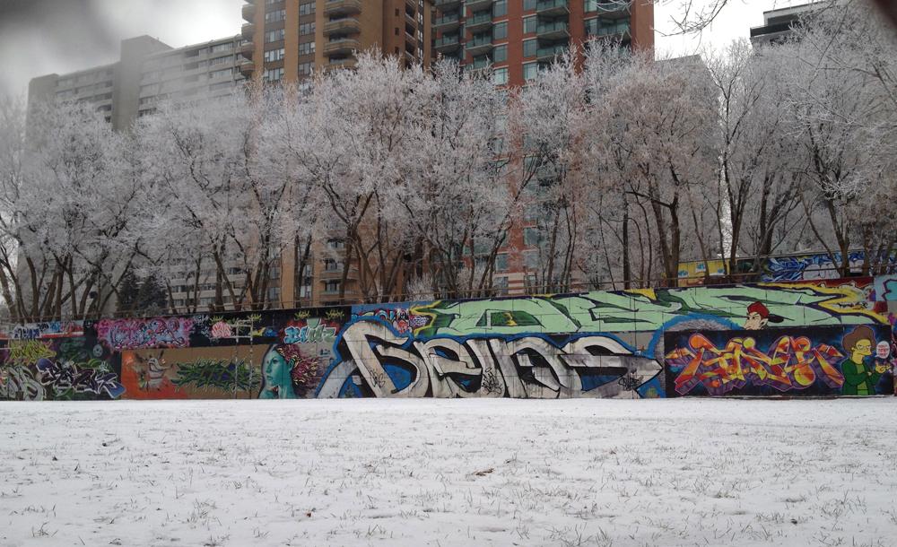 Graffiti wall along Slater