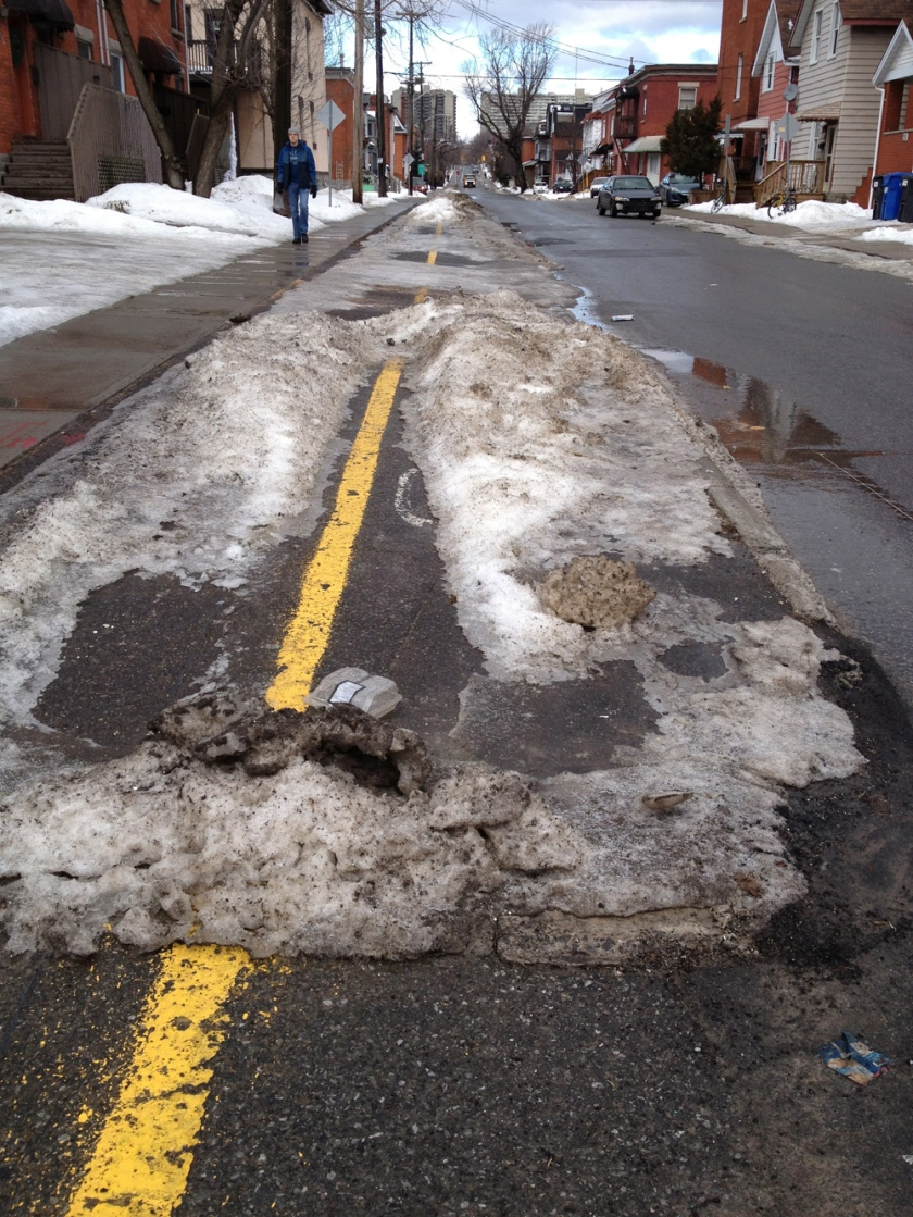 Percy bike lanes in the winter