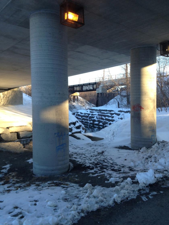 Under Bronson, over train tracks