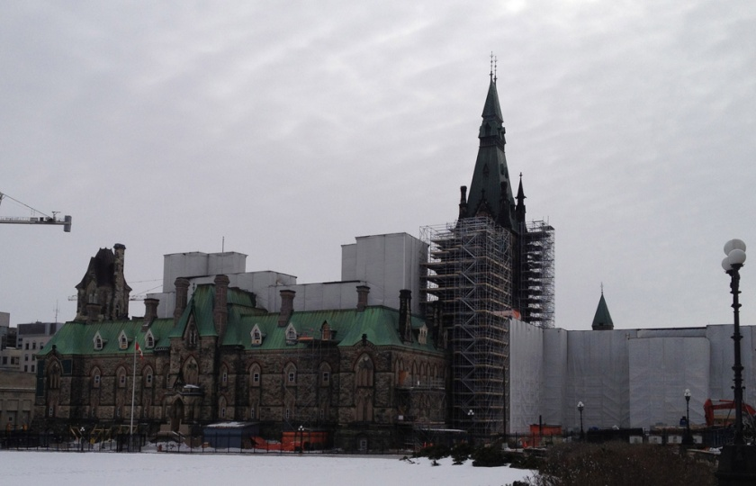 West Block partially wrapped