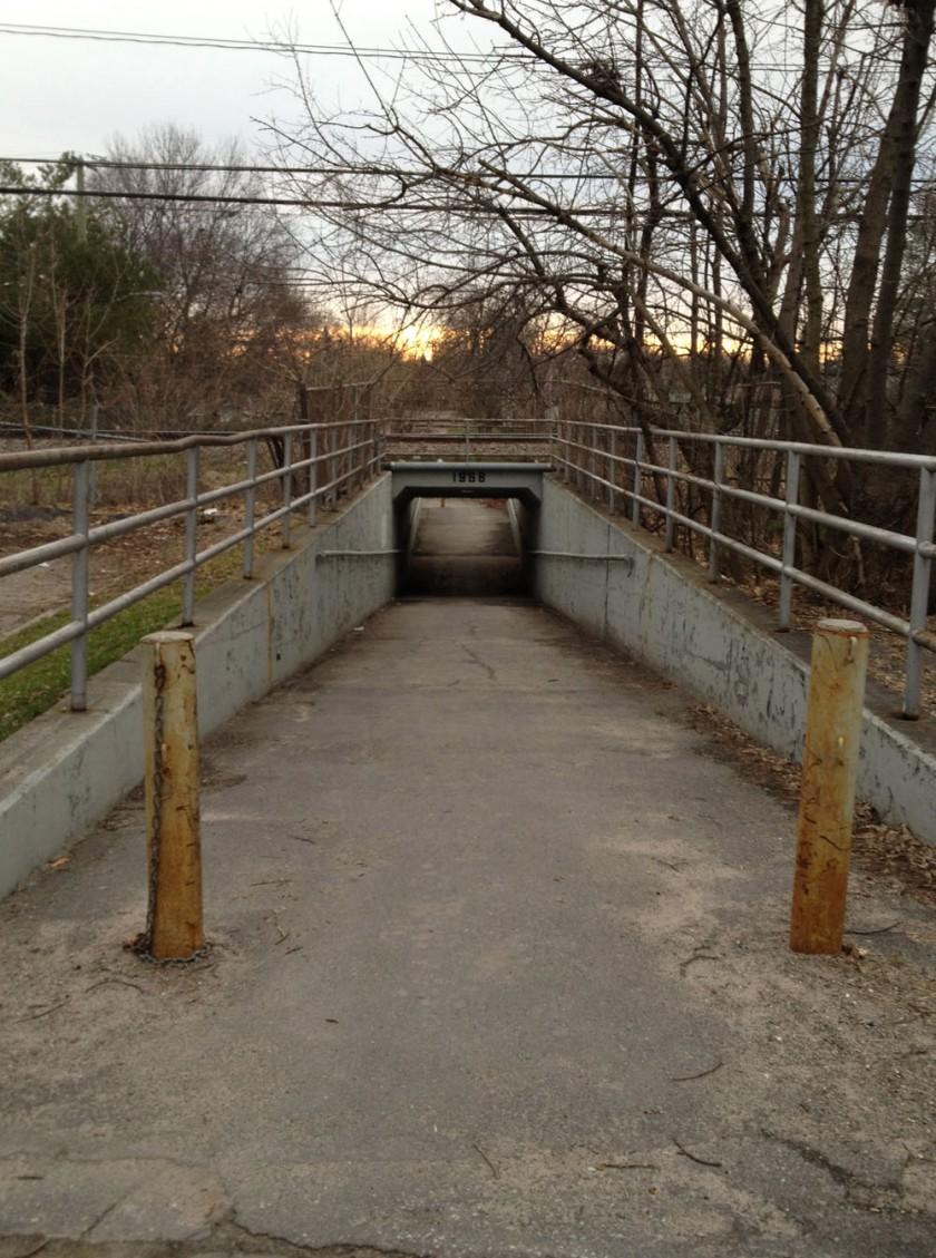 Tunnel under train tracks