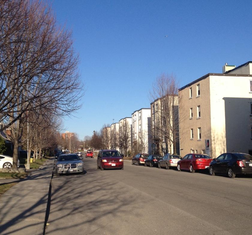Apartment buildings along Jeanne Mance