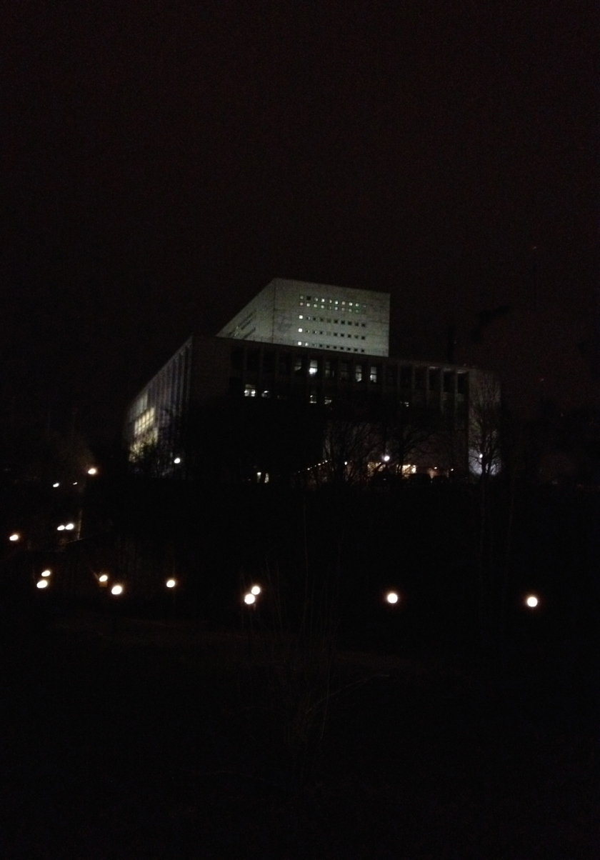 National Archives at night