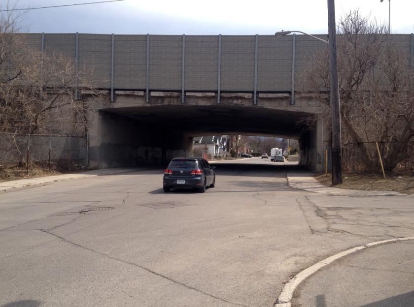 Queensway underpass along Fairmount Ave