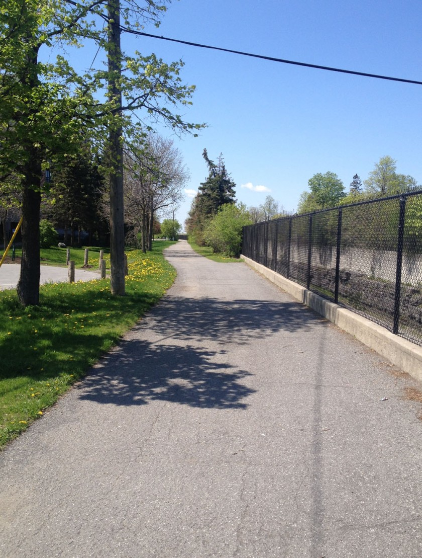 Path beyond Churchill Ave along transitway