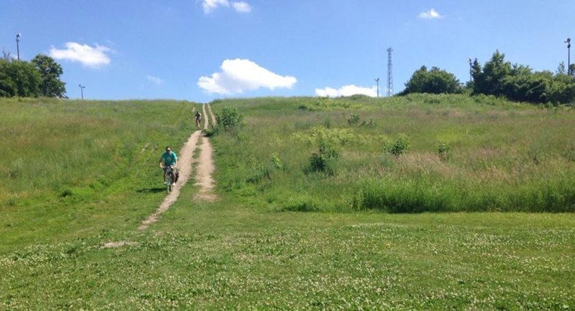 Biking down the old Carlington Heights ski hill