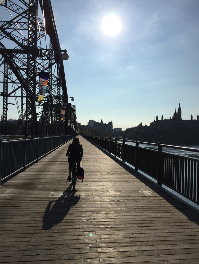 Pedaling over the Alexandra Bridge