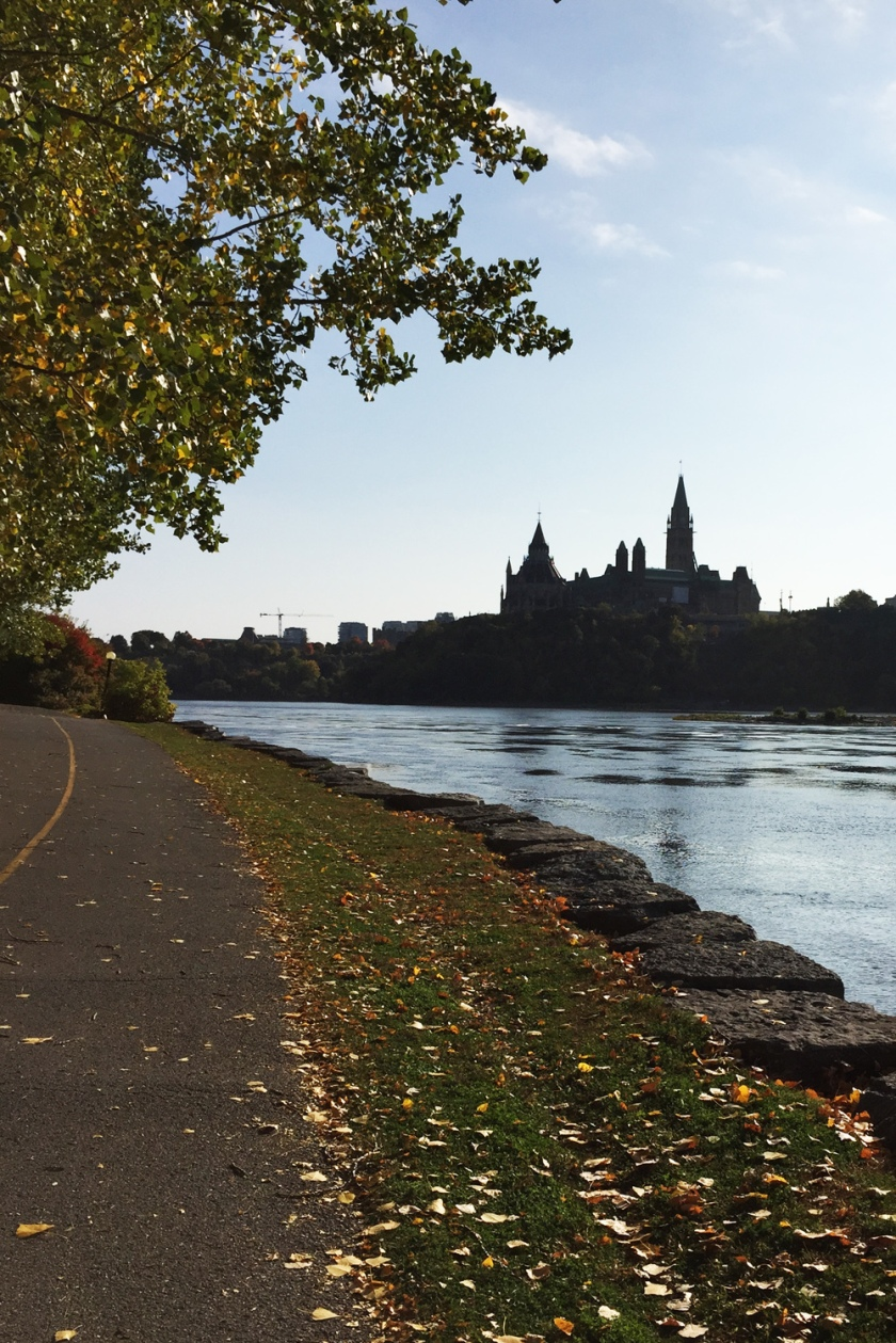 Parliament Hill as seen from the Voyageurs Pathway