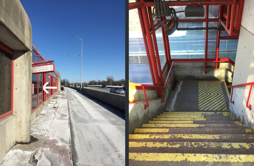 Entrance to covered OC Transpo station.... and stairwell down to Transitway
