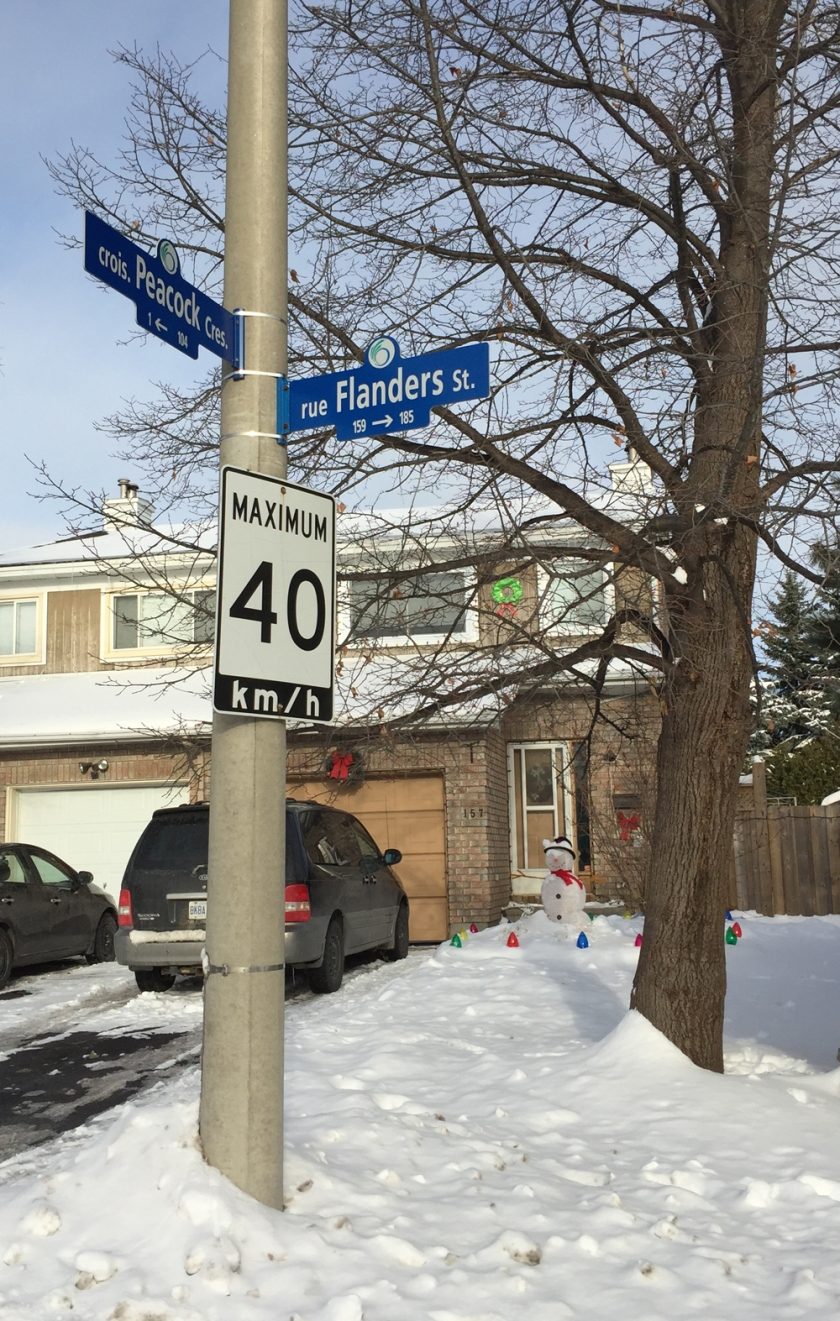Flanders St & Peacock Crescent, deep in the heart of Barrhaven