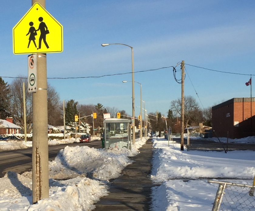 View of Meadowlands signalled crosswalk in front of St Gregory School seen from Sullivan Ave.