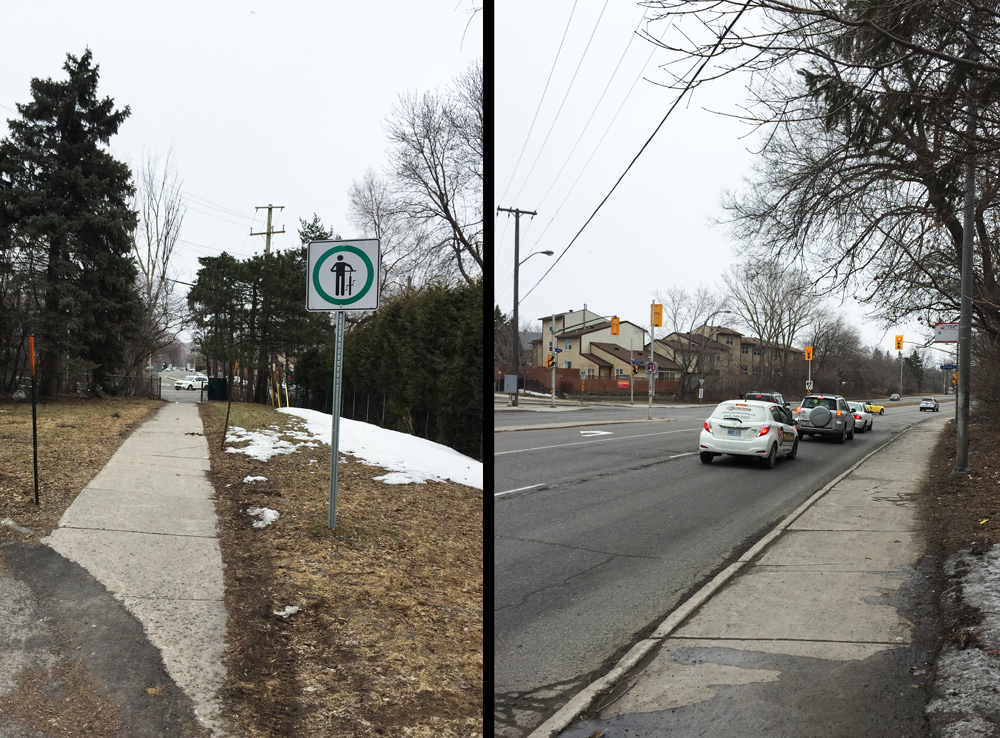 Short path at the end of Coupal.....& bit of sidewalk to lights across the Vanier Parkway