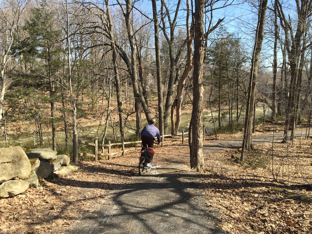 Riding the gravel path beside the Jock River