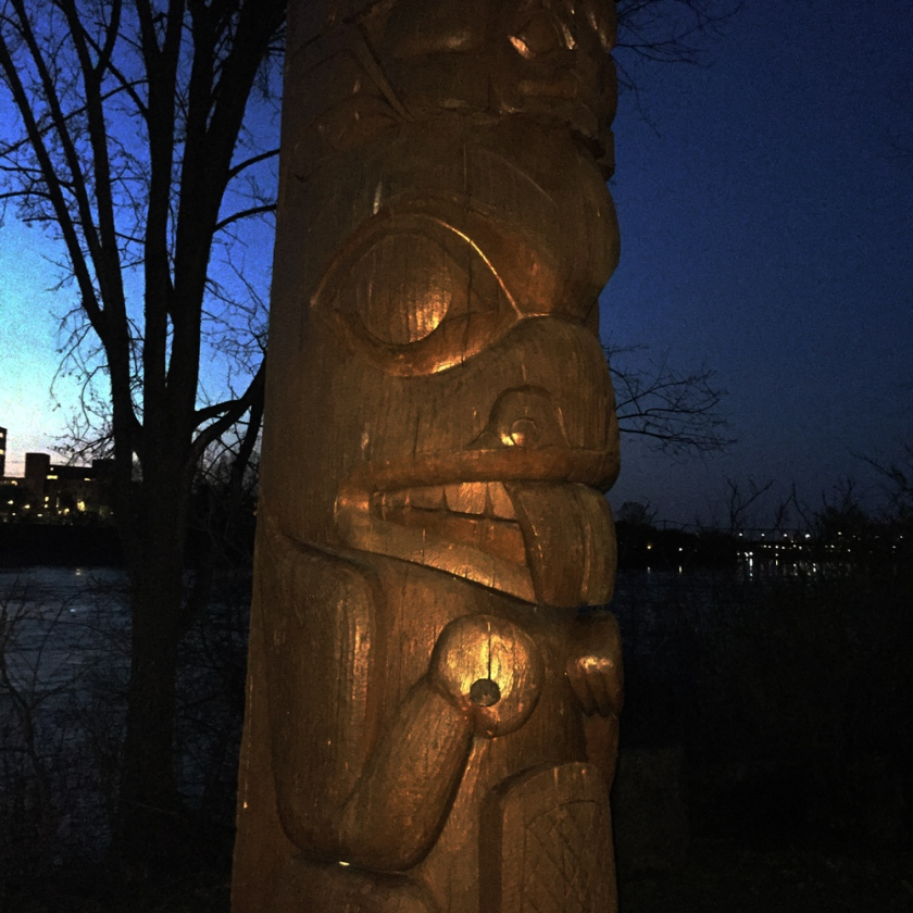 Detail of totem on Victoria Island
