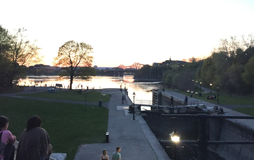 View down the last set of locks along the Rideau canal before it drains into the Ottawa River