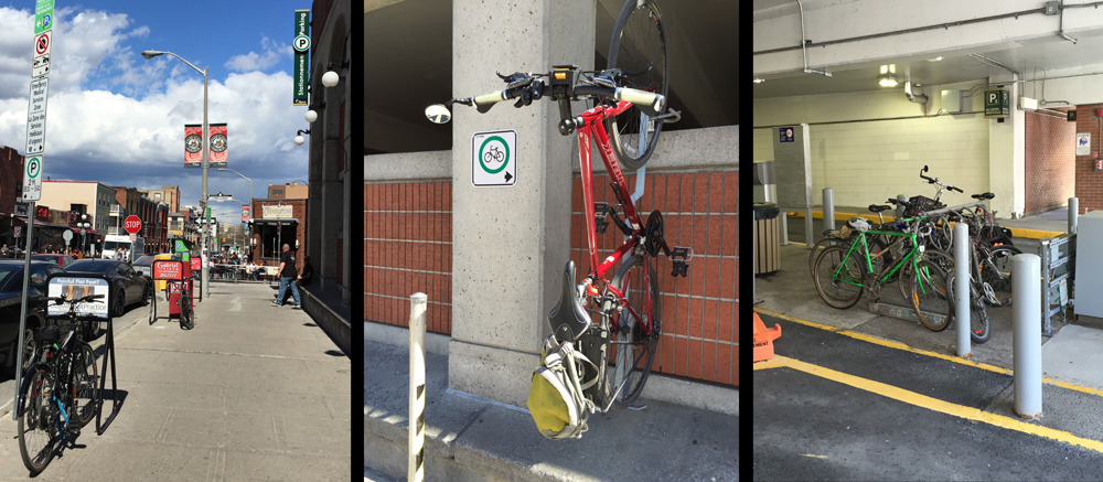 Sidewalk, wall mounted,  & garage bike racks