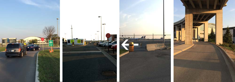 Right @ end of PB Driveway...straight through parking...left @ end of parking...down lane to arrivals.