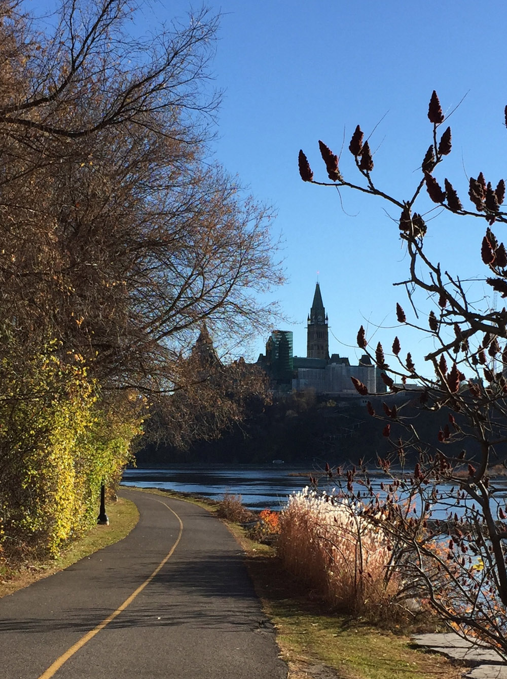 View of Parliament Hill from the Voyageurs Pathway