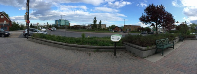 Round-about panorama. Left side of image is where I came from. Right side is where I'm heading.