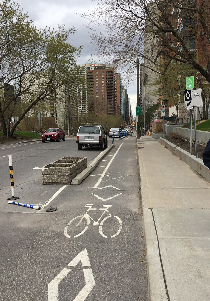 Laurier Bike lane starting at Bronson Ave